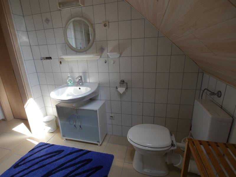 Das Badezimmer Verfügt über Eine Toilette , Waschbecken Und Dusche.
